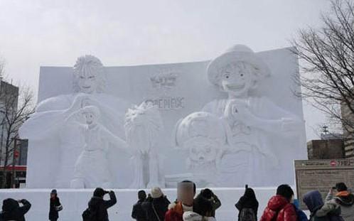 海贼王携手美食的俘虏亮相北海道札幌冰雪节图片