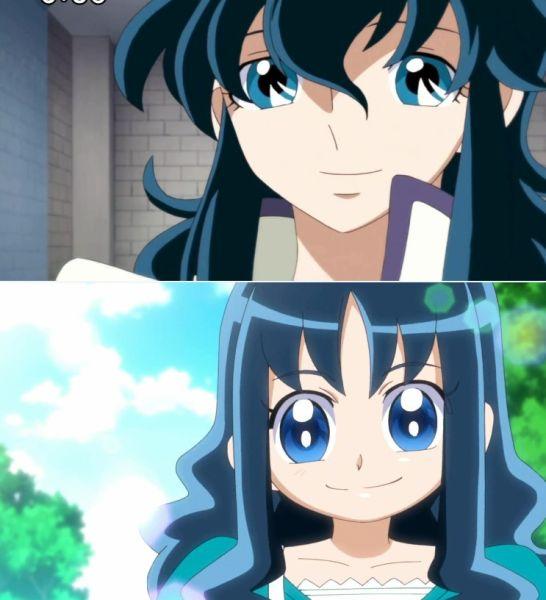《Heart Catch Precure》(抓心Q娃) 的来海绘里香看起来比龙峰要元气得多~不过看那卷曲的蓝色长发,大眼睛,可爱的面孔多么相似