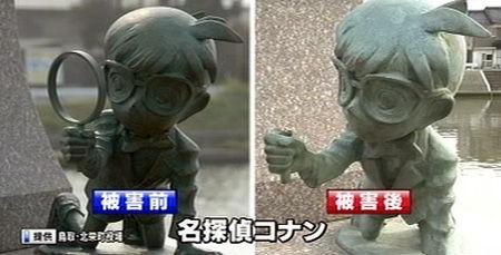 鸟取县《名侦探柯南》铜像第10次遭到破坏