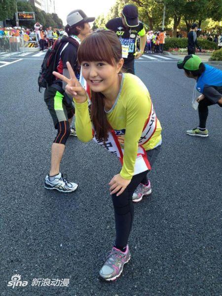 人气声优野中蓝参加神户马拉松赛跑完全程